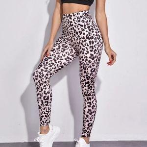 Pink Cheetah Wide Band Waist Leggings